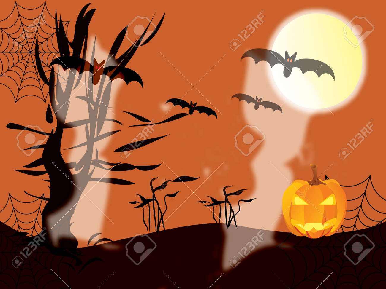 Halloween concept with pumpkin, tree, ghosts, bats, moon and texture Stock Vector - 7958192