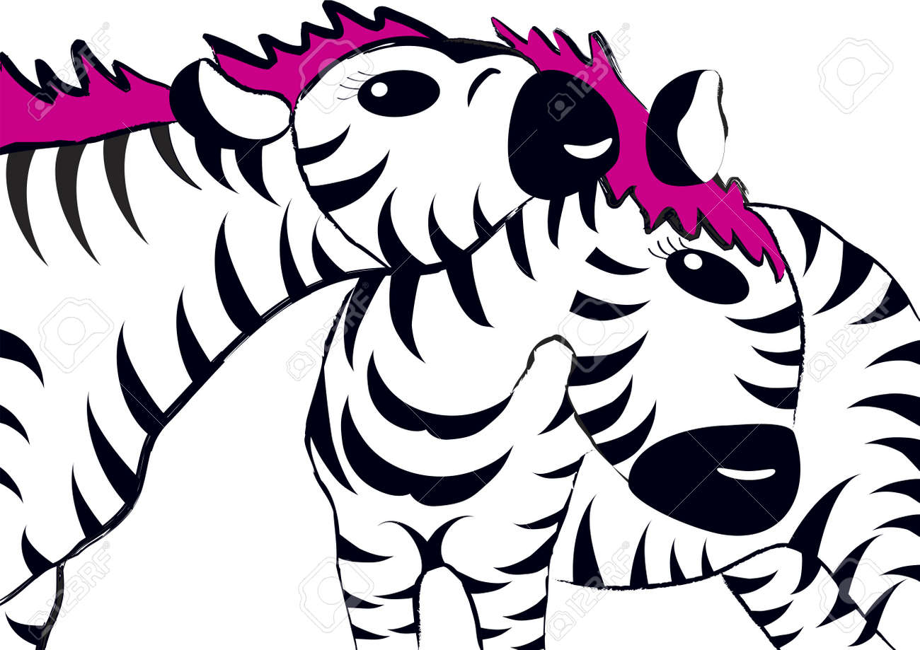 Zebra mother and her young, drawing with brush strokes Stock Vector - 17242666