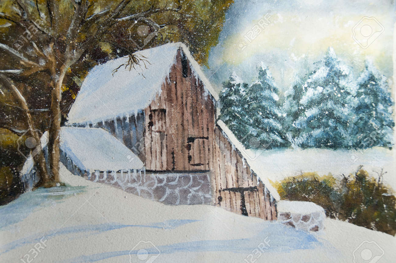 Canadian Winter Countryside Home In Watercolor And Gouache I Am The Only Author Of