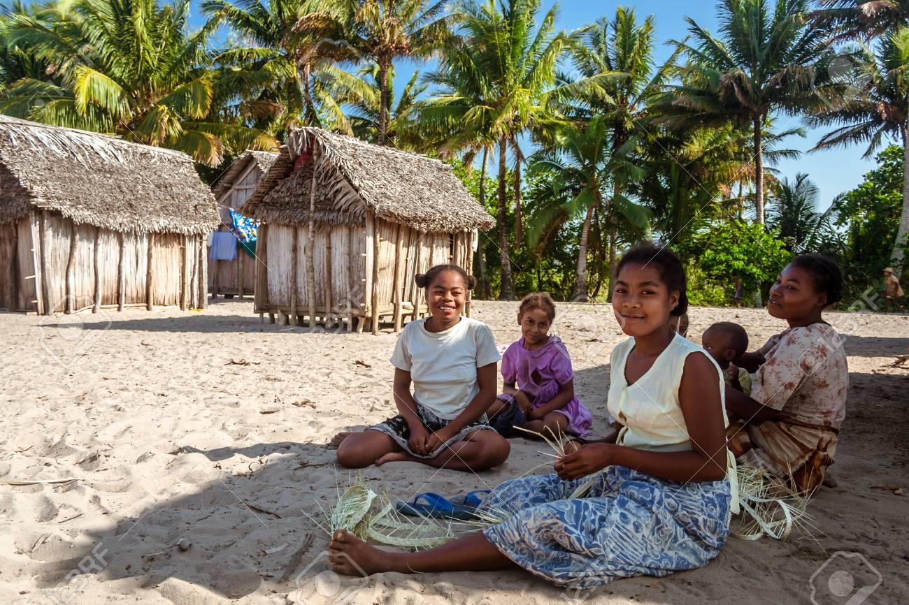 Ambohitsara, Madagascar, Nov. 11, 2016: Malagasy women of Betsimisaraka ethnicity in their tribal village along the Pangalanes canal, east of Madagascar - 88738351