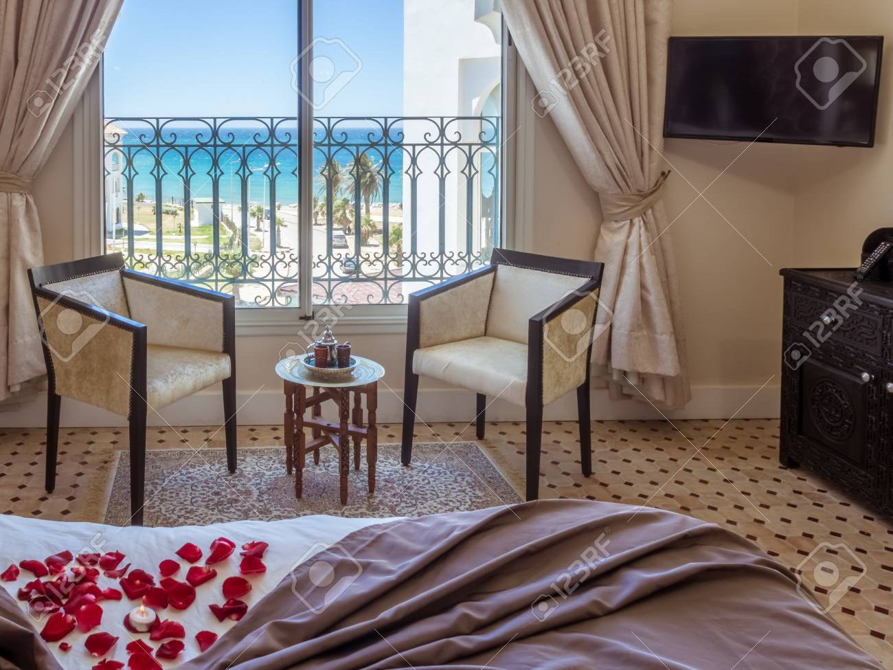 Hotel Room In Moroccan Style With Sea View Stock Photo, Picture And ...
