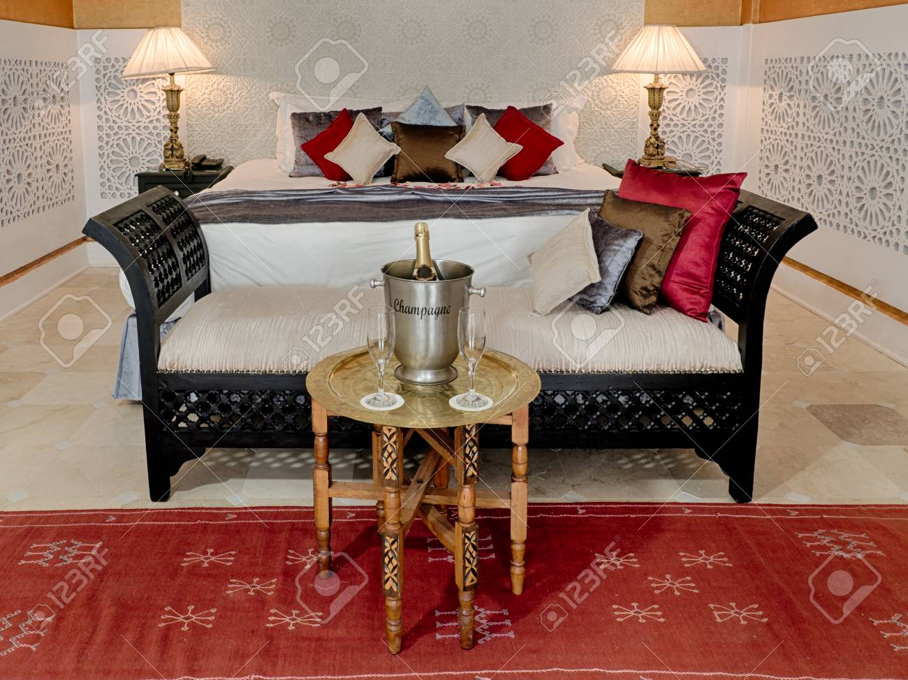 Luxury suite bedroom and couch in moroccan style
