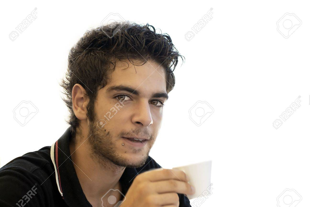 beauty boy at coffee break after work Stock Photo - 6899138