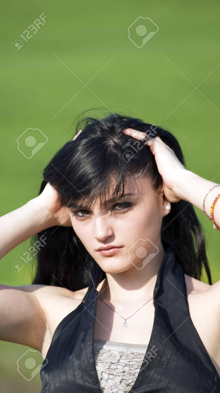 girl touching her hair Stock Photo - 18055582