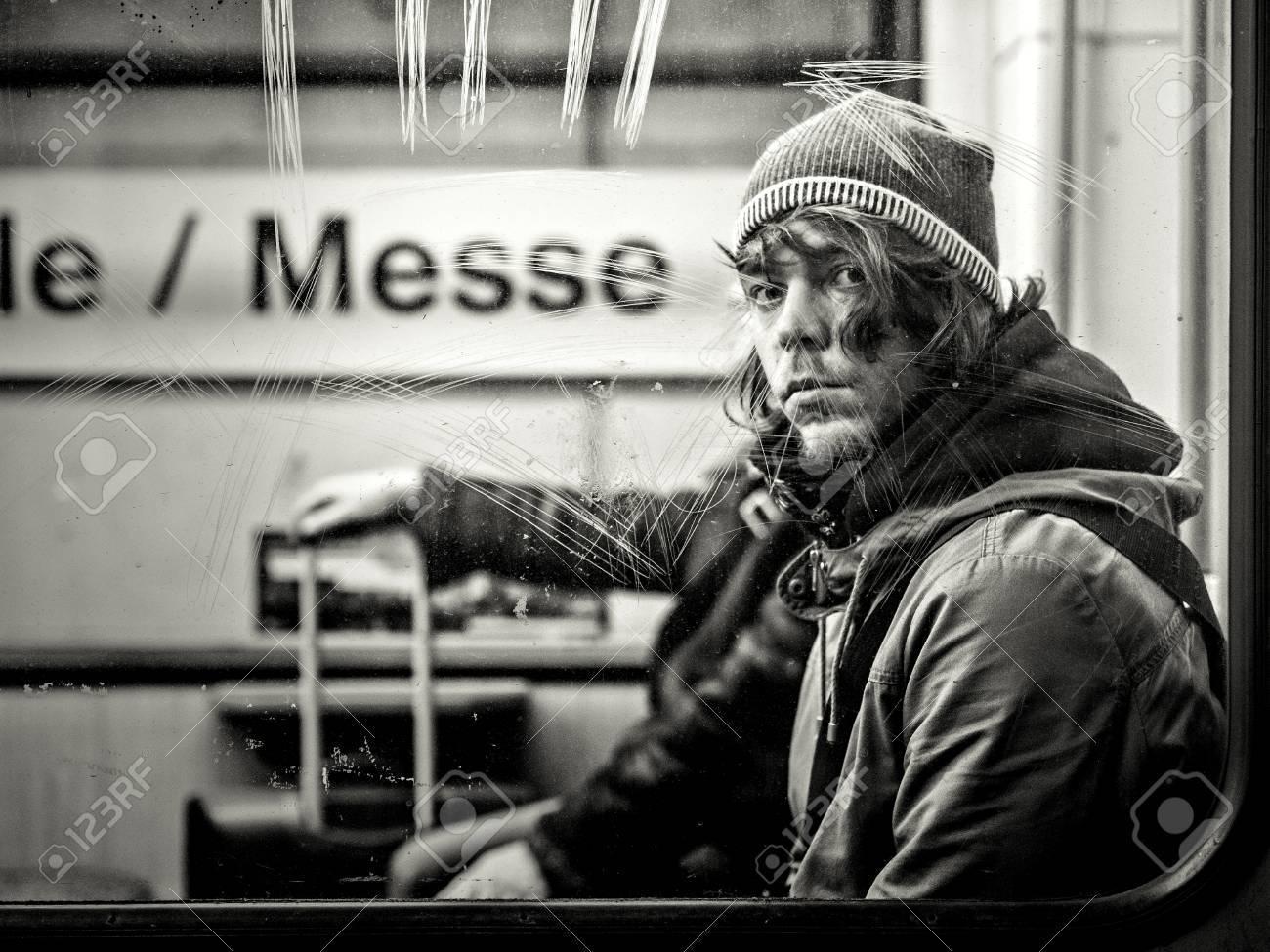 Frankfurt, Germany - January 09: Unidentified man in metro on January 09, 2015 in Frankfurt, Germany. Standard-Bild - 89297225