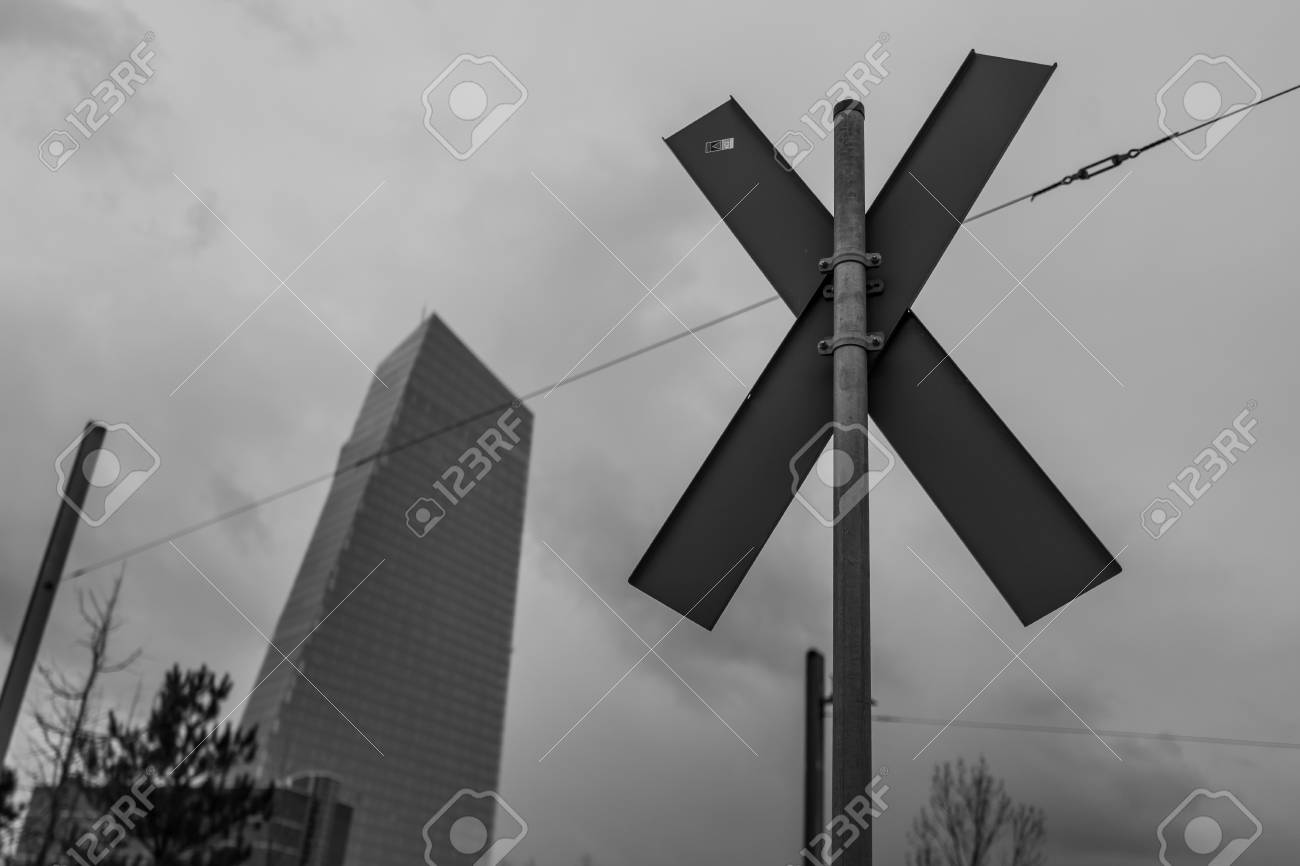 Cross with ECB in background Standard-Bild - 94769241