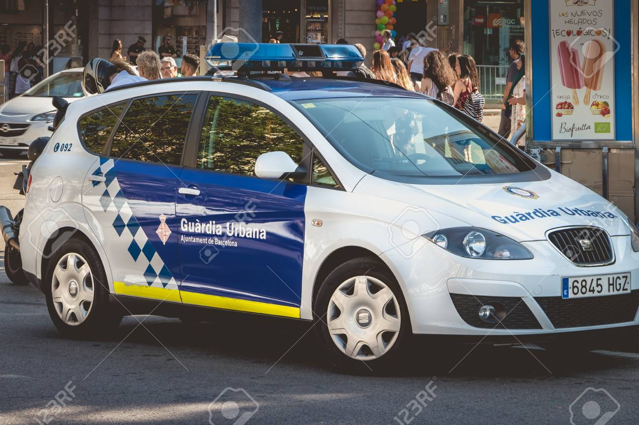 Barcelona Spain June 20 2017 Close Up On A Spanish Police