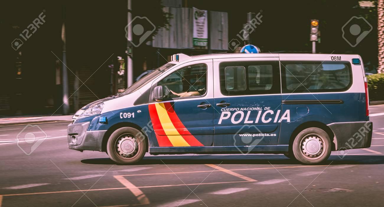 VALENCIA, SPAIN - June 18, 2017 : Spanish police car driving