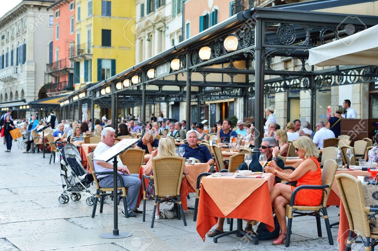 Verona Italy May 2017 Summer Terrace Of The Restaurant In