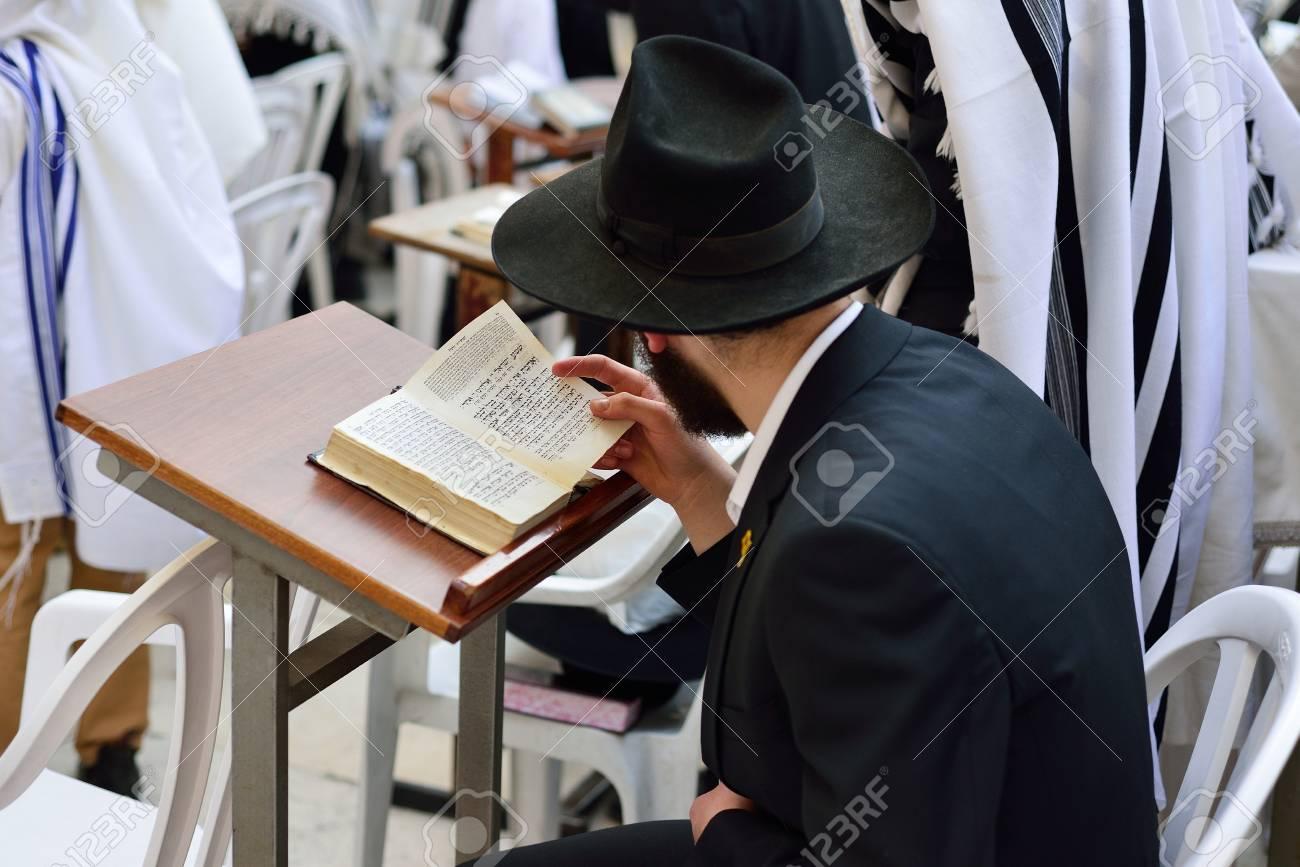 JERUSALEM, ISRAEL - APRIL 2017: Jewish hasidic prayer, the Western