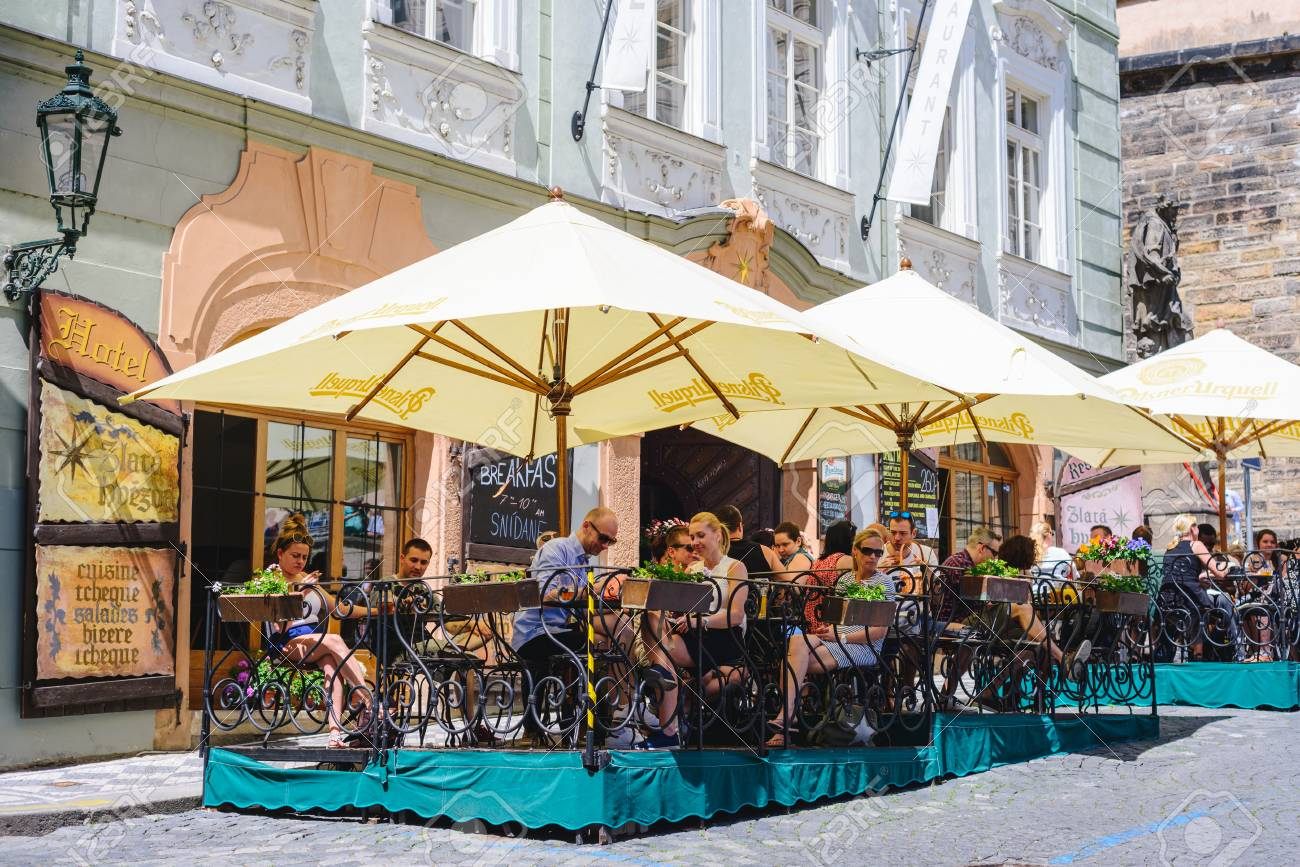 Prague Czech Republic May 2017 Tourists Outside Cafe Restaurant Stock Photo Picture And Royalty Free Image Image 111641422