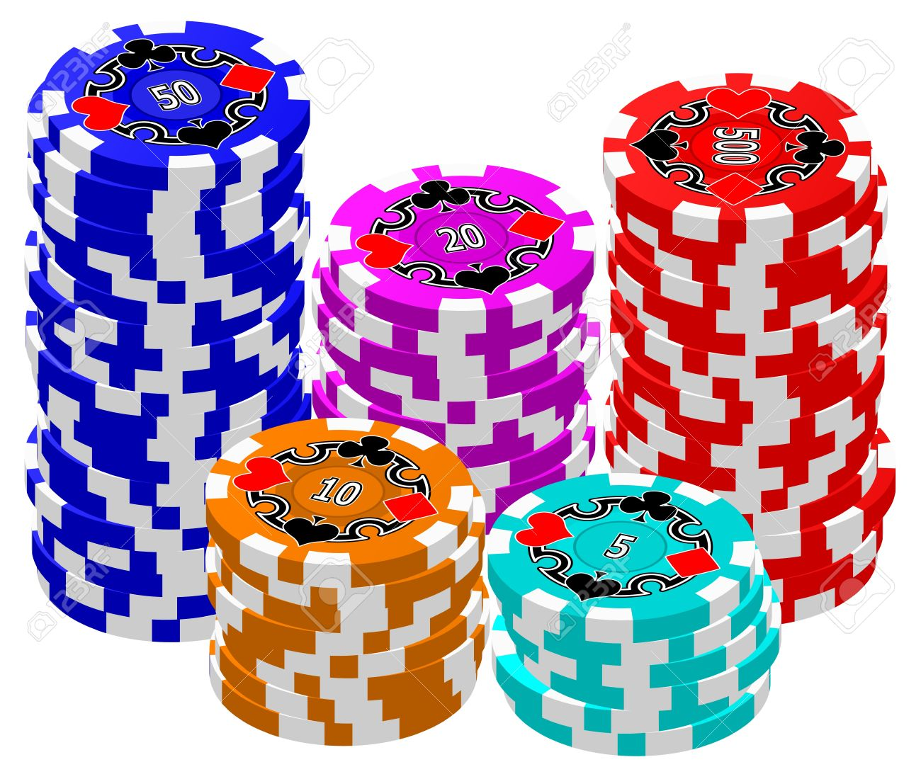 A set of stacked Poker Chips. Stock Vector - 13130894