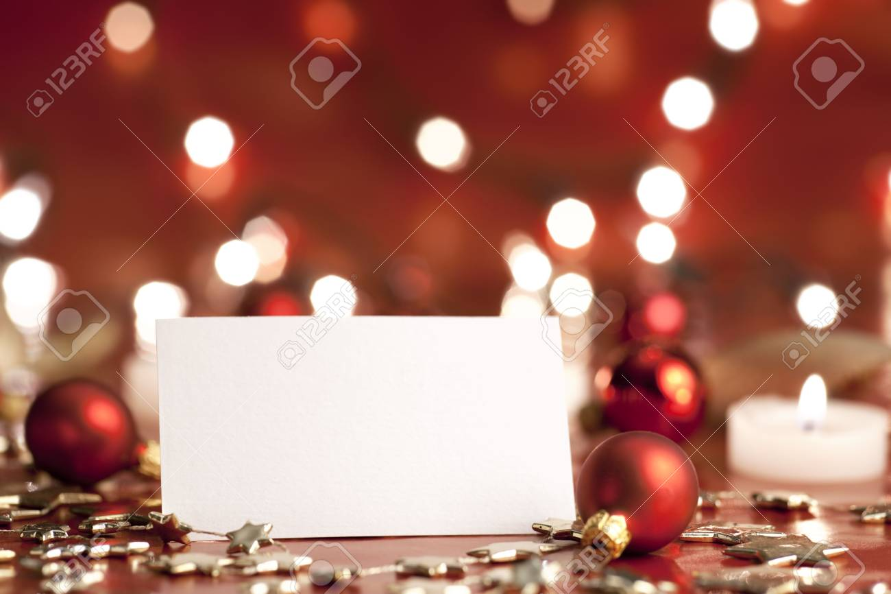Christmas decoration with blank card. Selective focus, aRGB. Stock Photo - 6033648