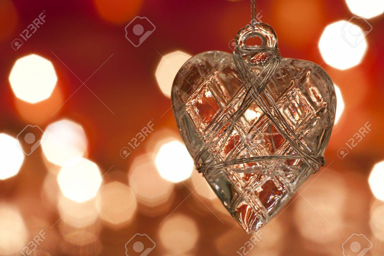 Glass heart christmas ornaments - Christmas Decoration Glass Heart Blurred Lights Background Argb Stock Photo 7235393