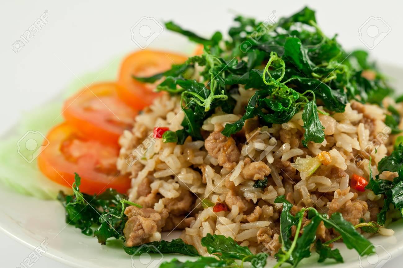 Thai spicy food, stir fried pork whit basil Stock Photo - 10169801
