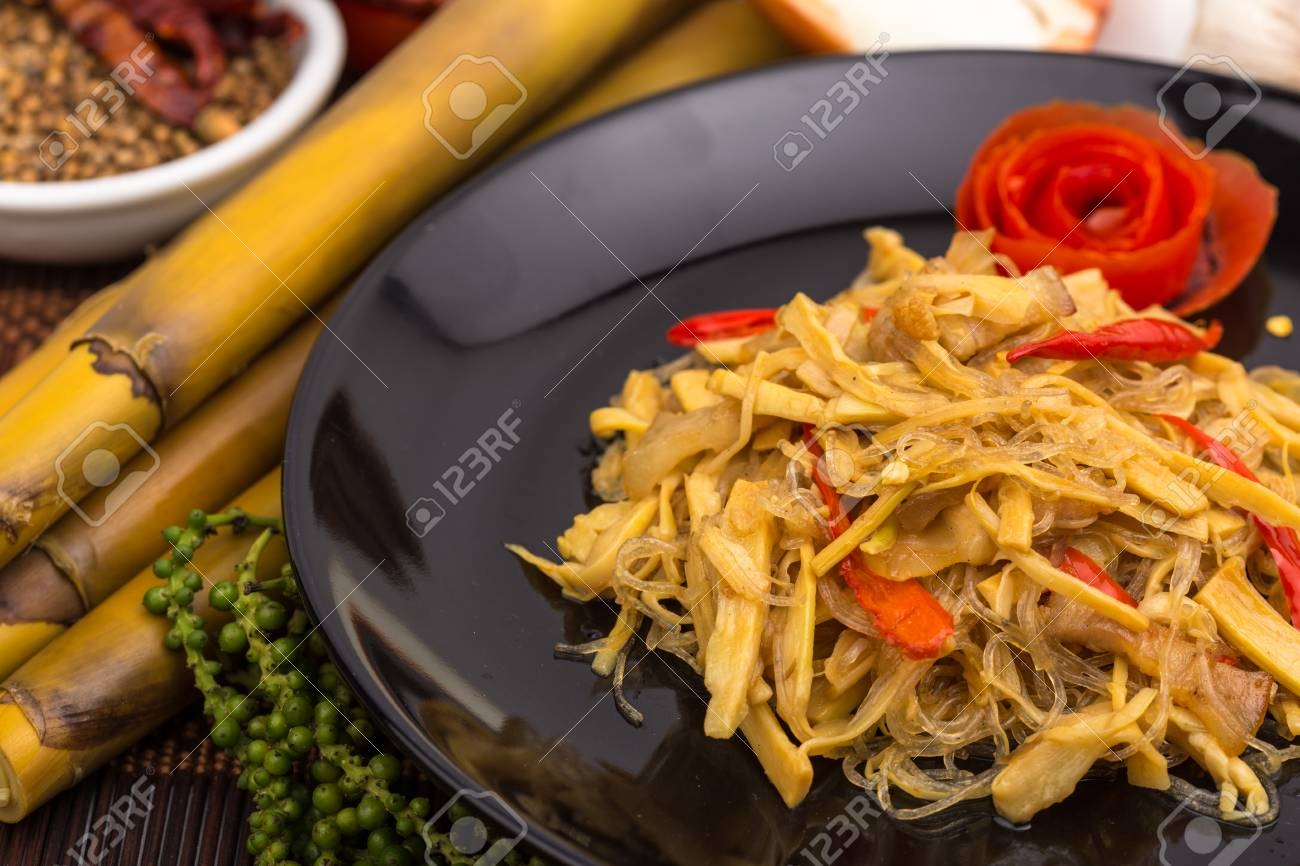 Thai Food Bamboo Shoots Sliced Fried With Pork And Glass Noodles