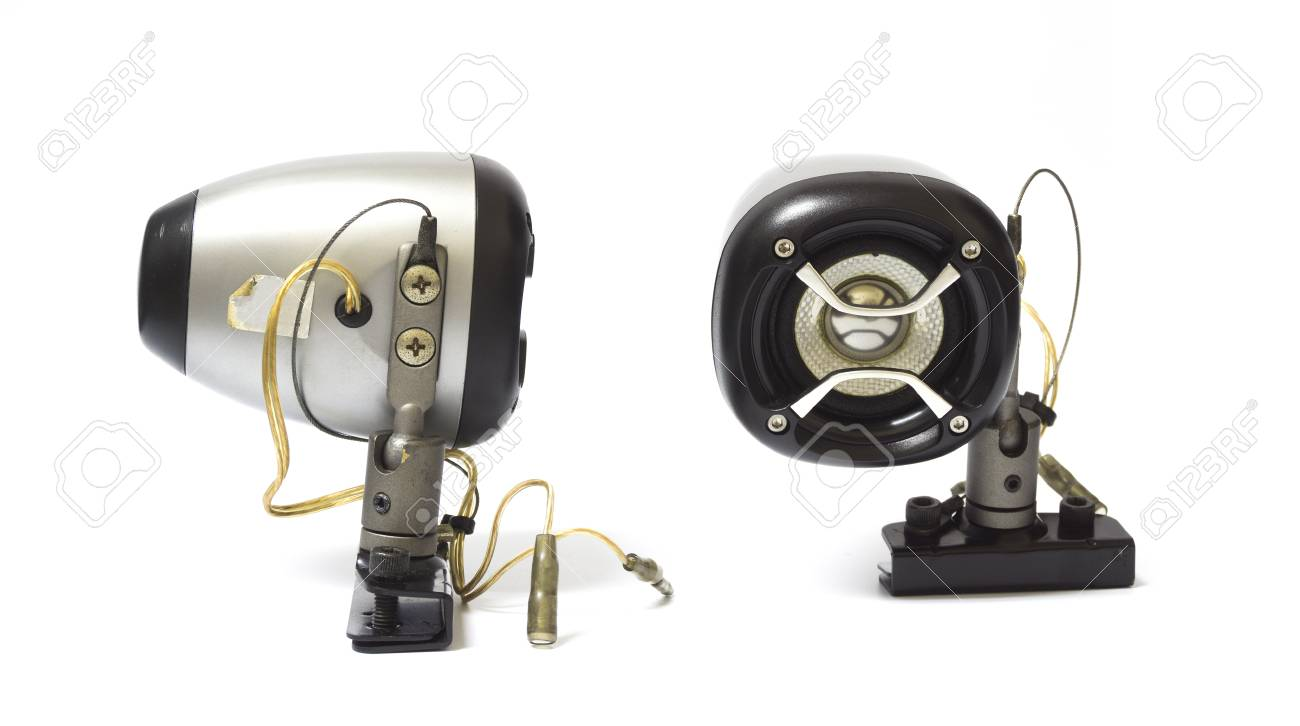 Pair Of Black Old Car Audio Speaker On White Background Stock Photo 68720418
