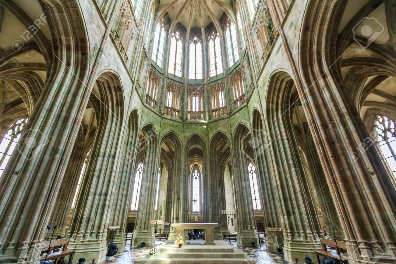 France Le Mont Saint Michel 17 June Interior Of The Church On