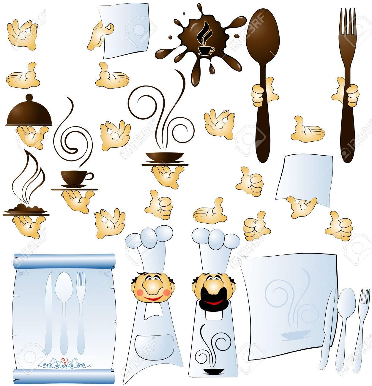 designer cook and hands constituent for restaurant menu Stock Vector - 4658279