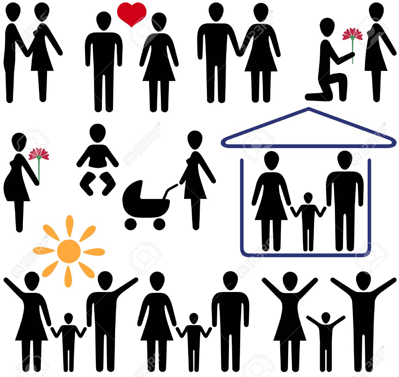 icons for the Internet and magazines on the theme of love and family Stock Vector - 5209423