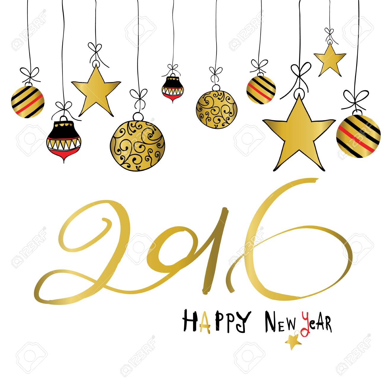 light black red gold happy new year with star and ball stock vector 51446365