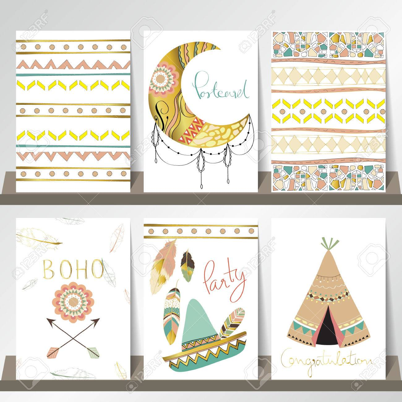 Light Green Gold Pink Card Template With Hat In Boho Style On