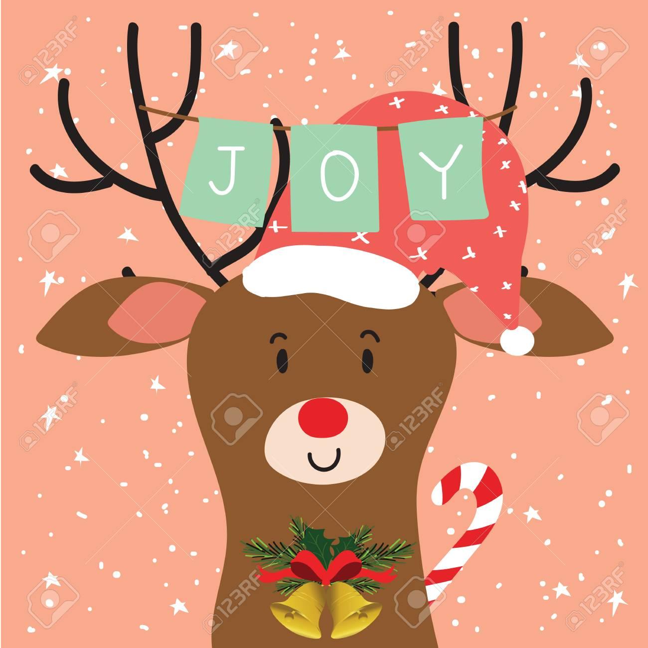 Tarjeta De Felicitación De Navidad De Luz De Colores Con El Reno Y ...