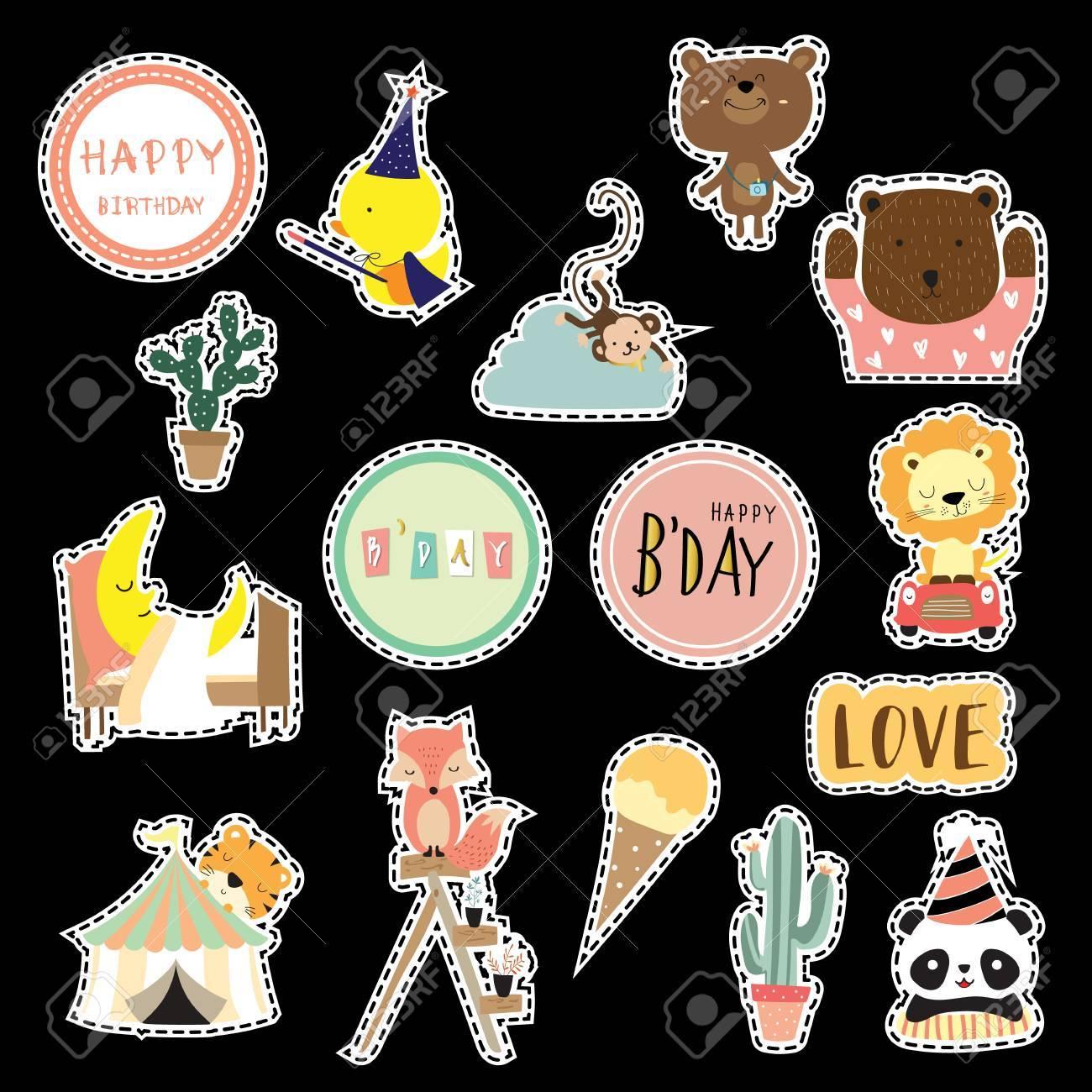 Cartoon Icon Collection With Duck Fox Panda Bear Cactus Tiger Lion