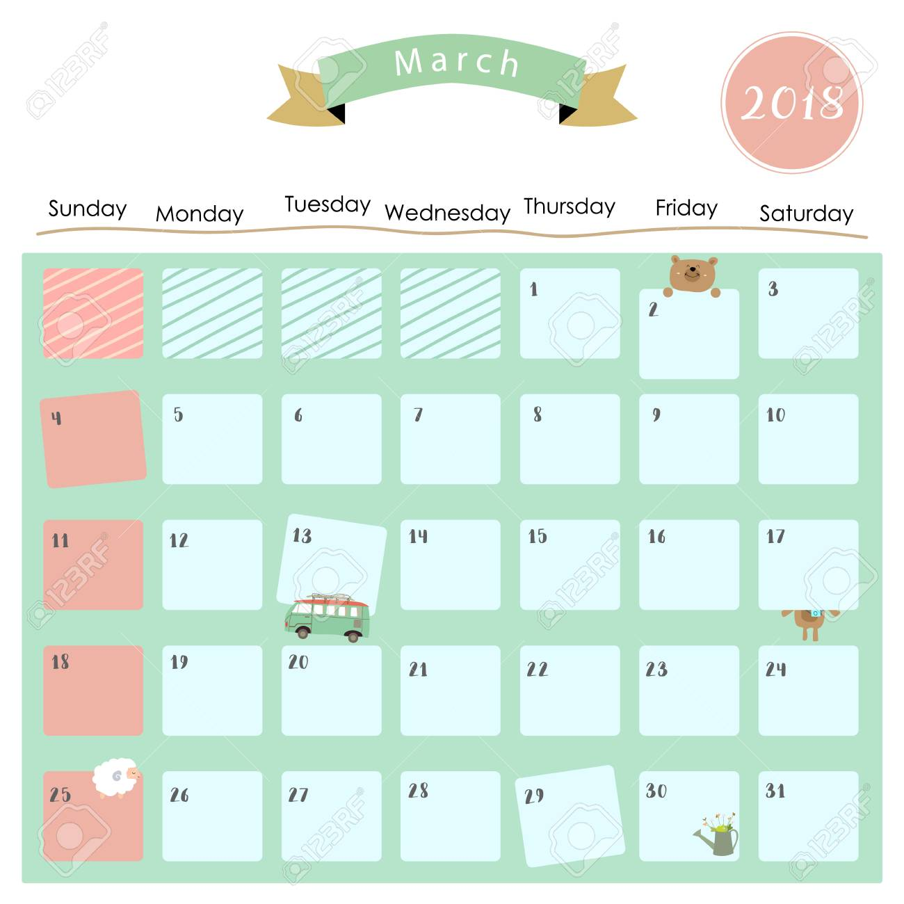 Colorful Cute March 2018 Calendar With Sheep,bear And Van Royalty