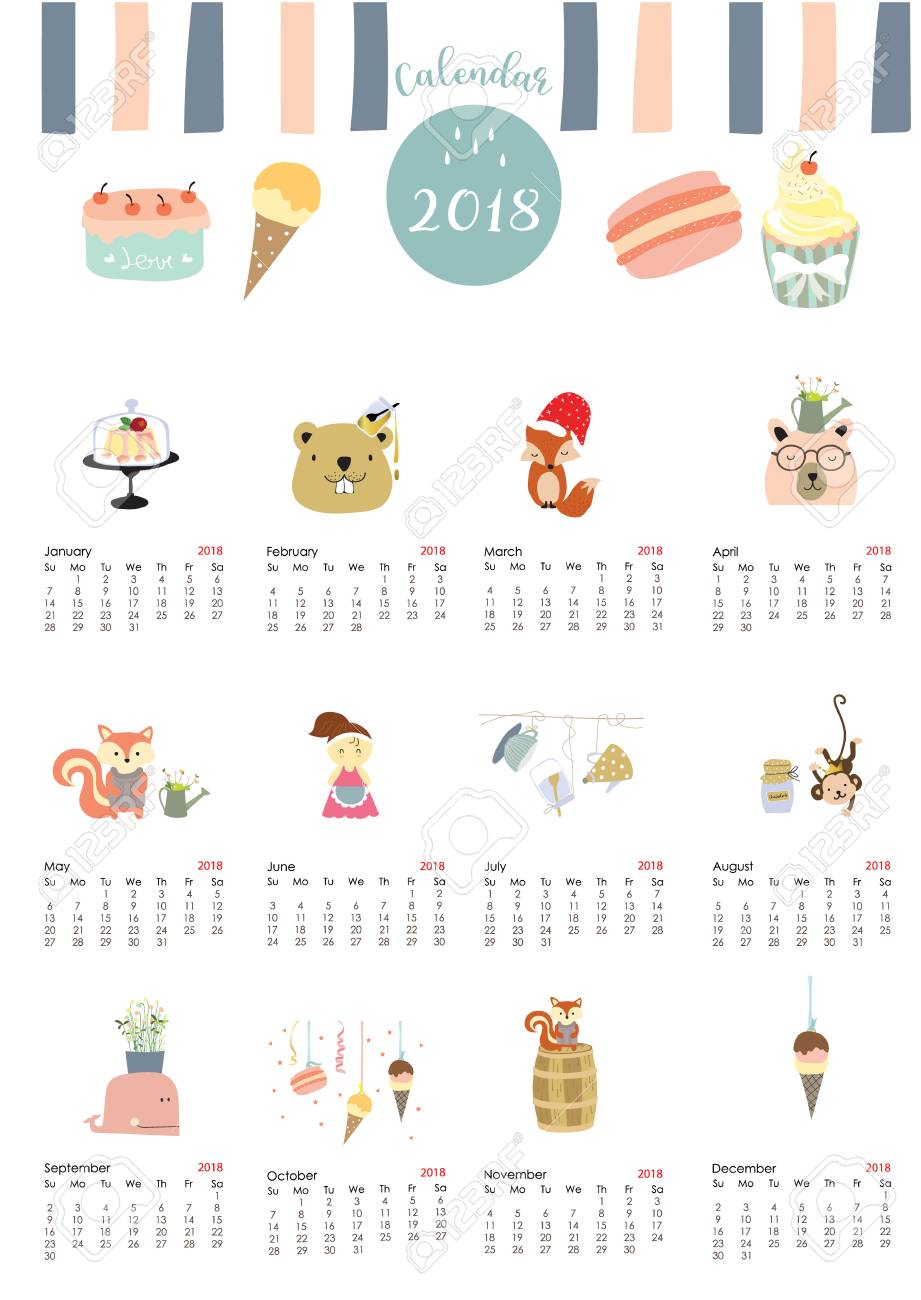 colorful cute monthly calendar 2018 with whaletreemonkeycakefox
