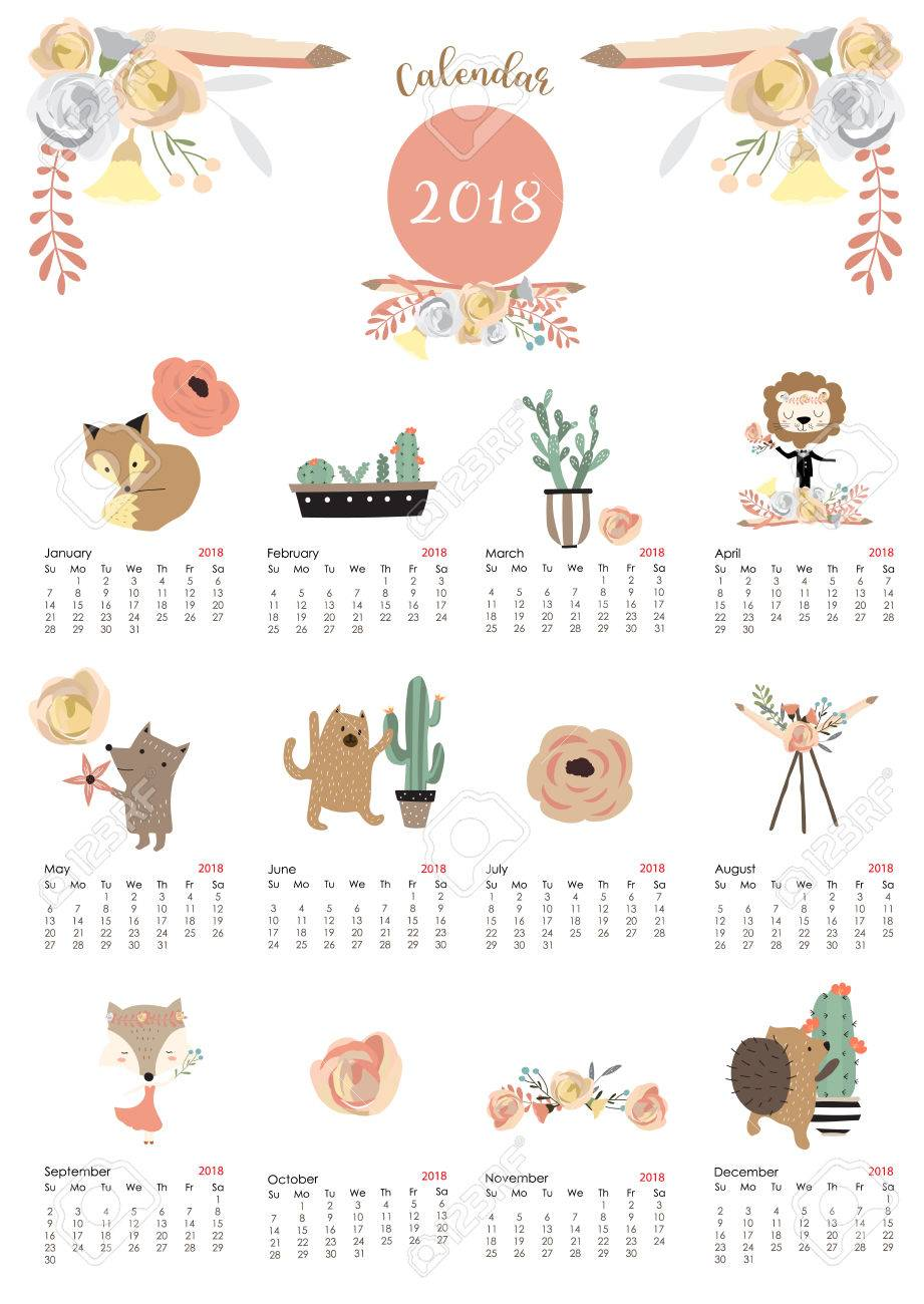 colorful cute monthly calendar 2018 stock vector 87203475