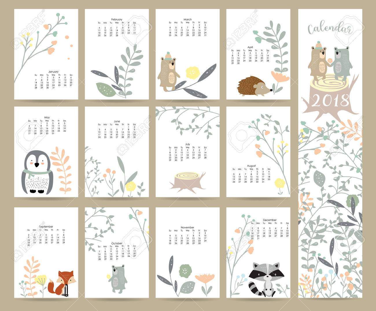photo relating to Cute Monthly Calendar Printable titled Colourful adorable regular monthly calendar 2018 with wild,fox,go through,skunk,leaf,stump,flower,penguin..