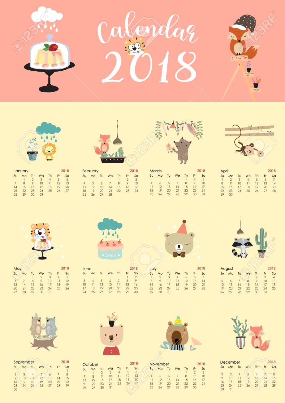 Colorful Cute Monthly Calendar 2018 With Fox Bear Cactus Flower