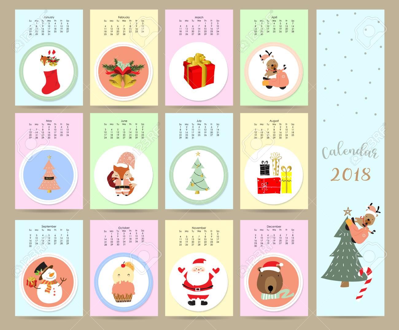 Calendario Fox.Colorful Cute Monthly Calendar 2018 With Wild Fox Bear Snowman Gift Christmas