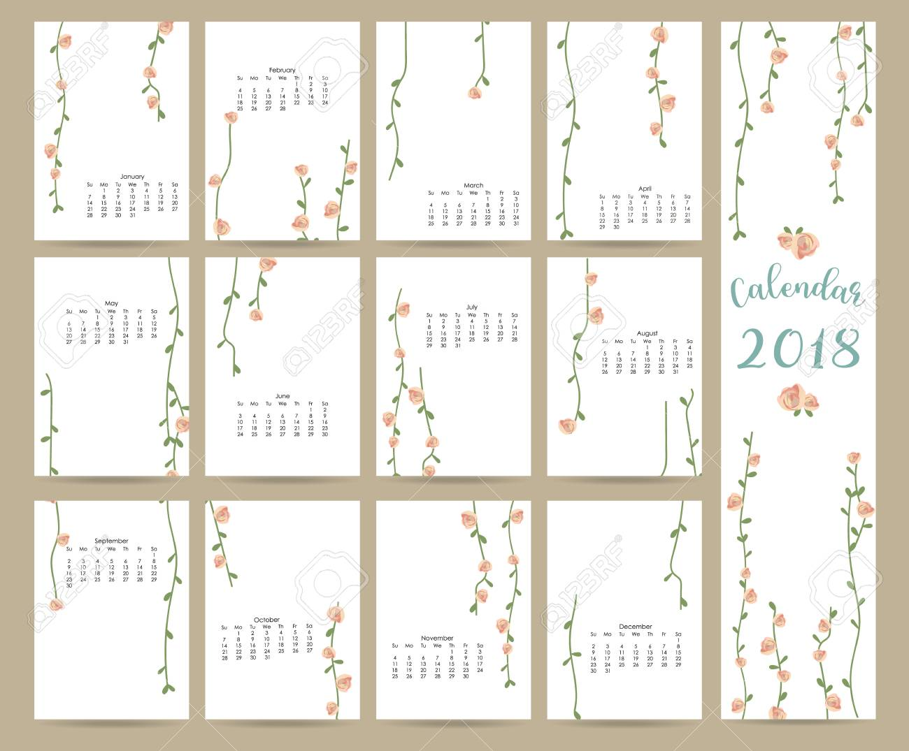 colorful cute monthly calendar 2018 with leaf and flowercan be used for web