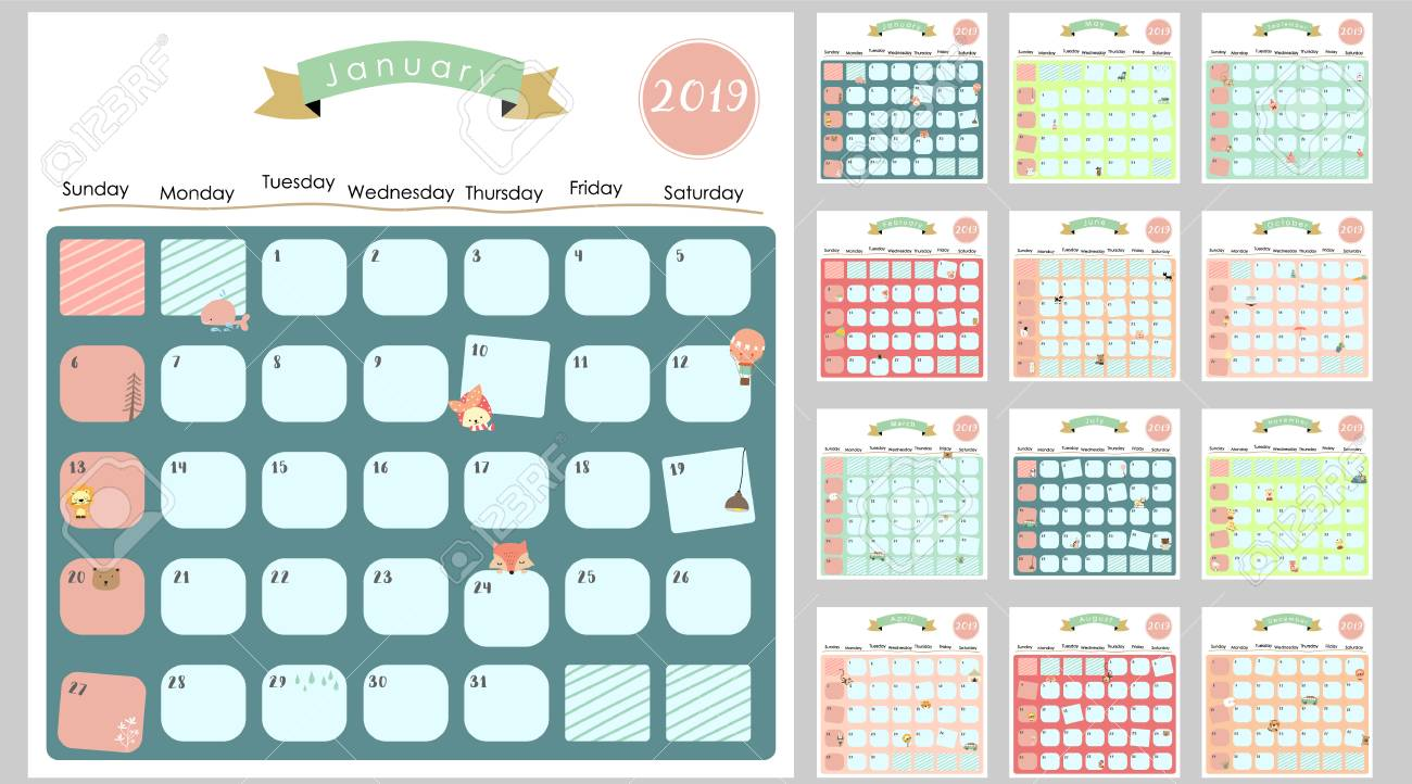 photo regarding Cute Monthly Calendar Printable identify Vibrant adorable regular calendar 2019 with lion,fox,cat,undergo,balloon.Can..