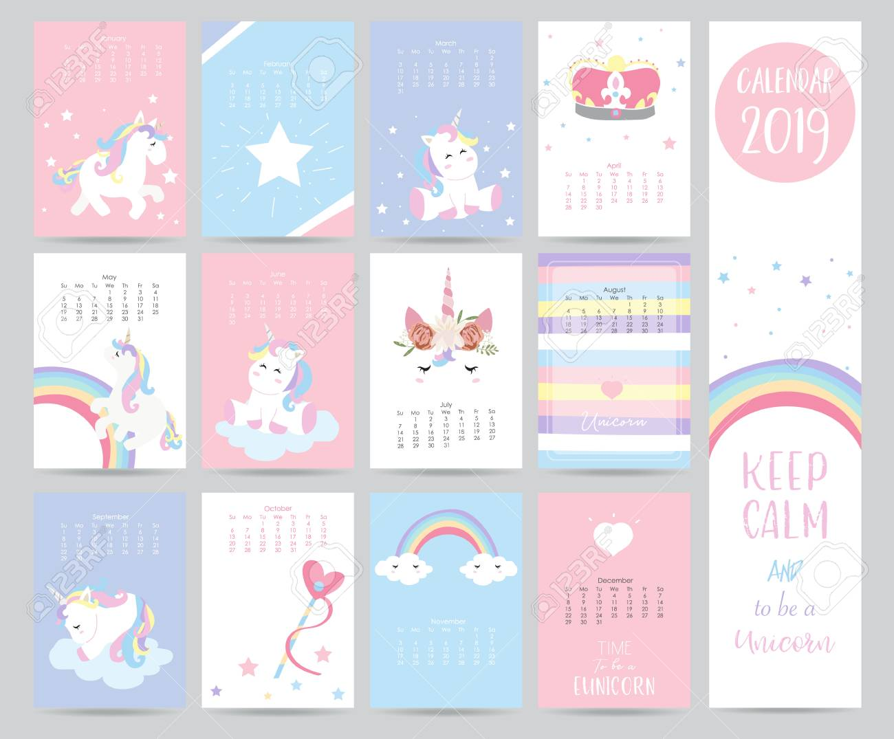 Cute Monthly Calendar 2019 With Sweet Unicorn Crown Heart And