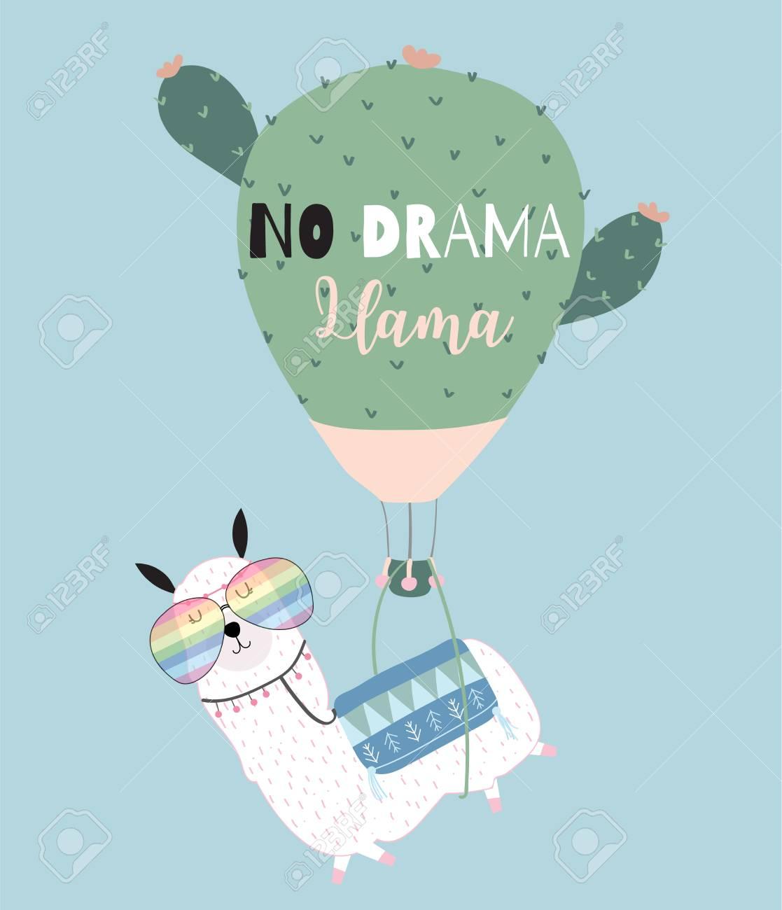 Blue green hand drawn cute card with llama, glasses,cactus balloon in summer.No drama llama - 104585274