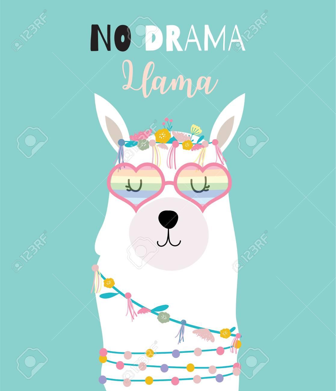 cbfbf1850 Blue green hand drawn cute card with llama,heart glasses in summer.No drama