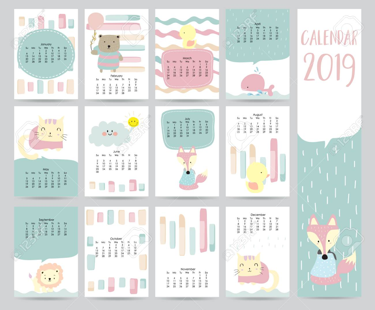Cute Monthly Calendar 2019 With Bear Cat Fox Whale Cat And Lion