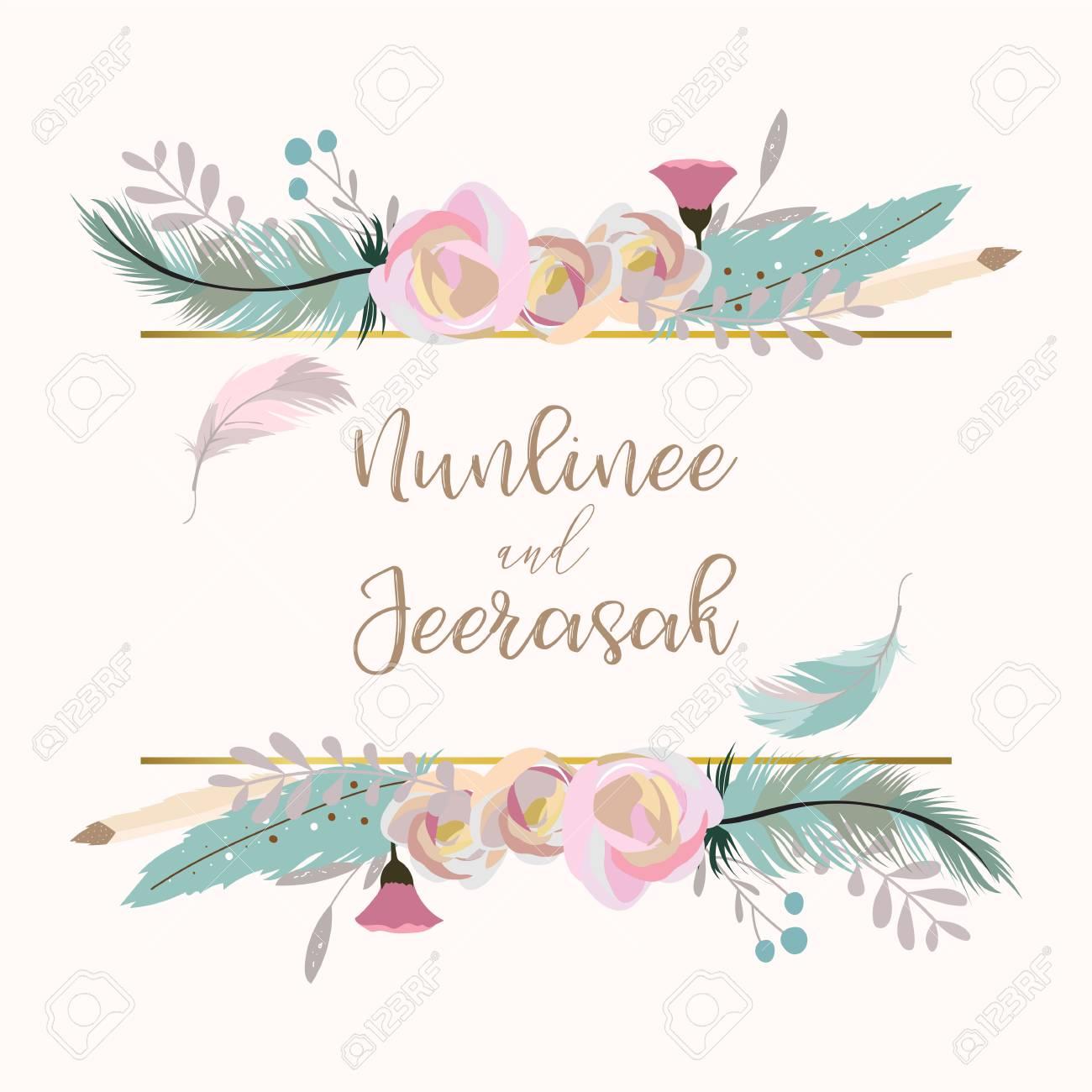 Geometry Gold Wedding Invitation Card With Flower Leaf Ribbon Wreath