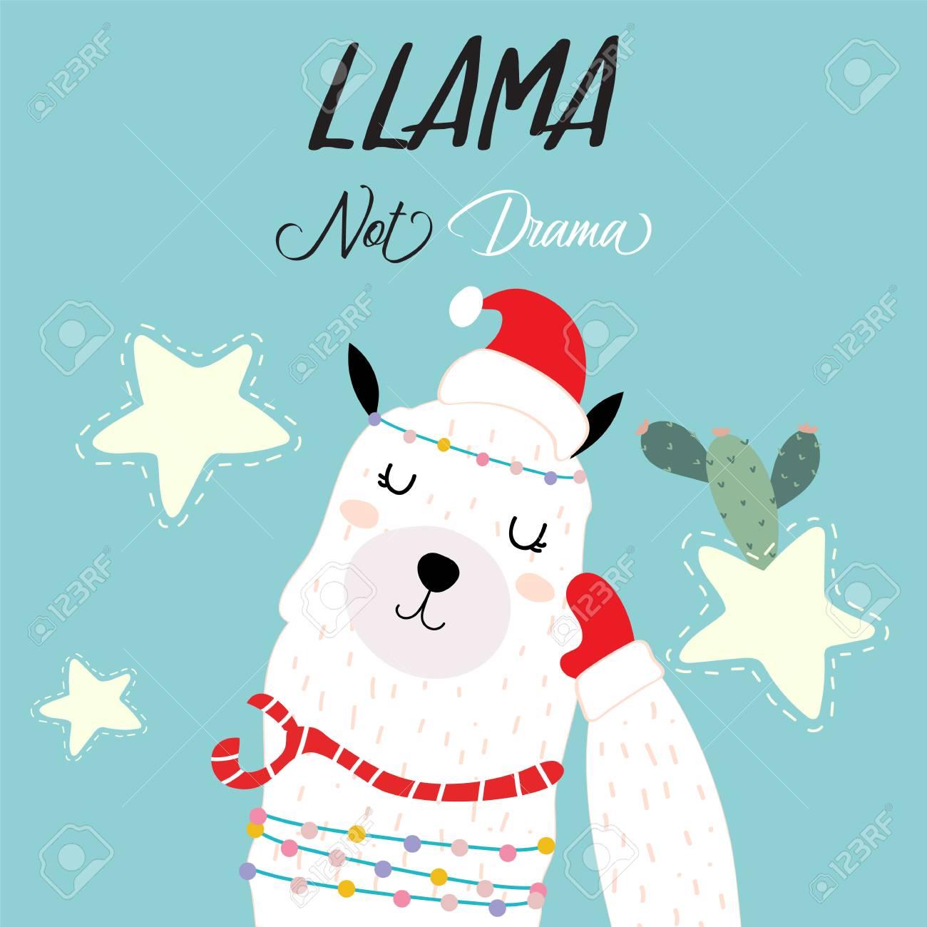 Christmas Llama.Blue Pink Hand Drawn Cute Card With Llama Cactus And Star In