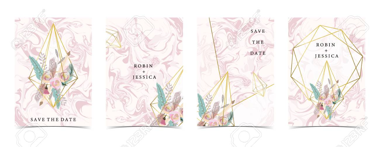 Geometry Pink Gold Wedding Invitation Card With Rose Leaf Ribbon