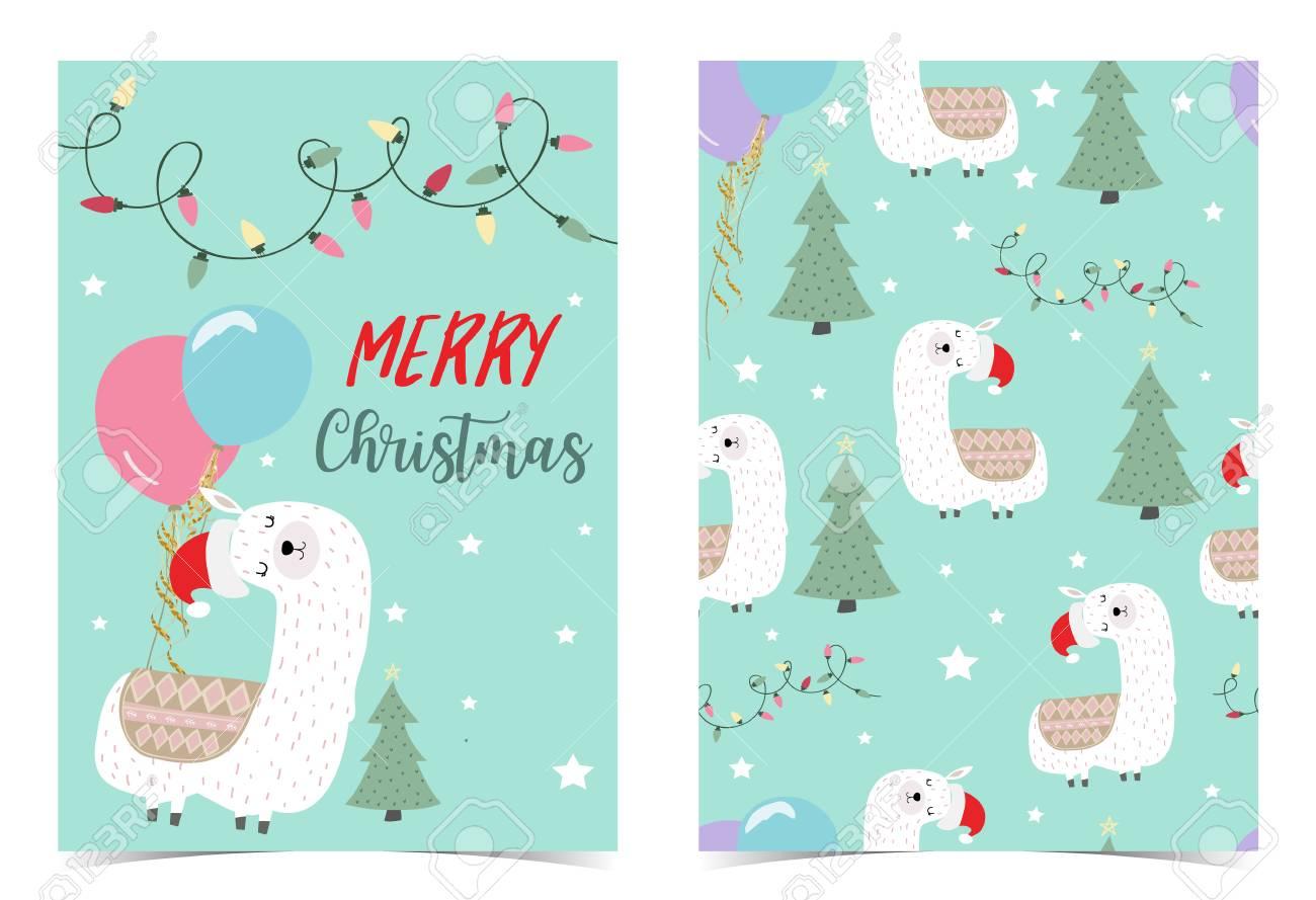 Llama Christmas.Green Hand Drawn Cute Card With Llama Christmas Tree Light Balloon