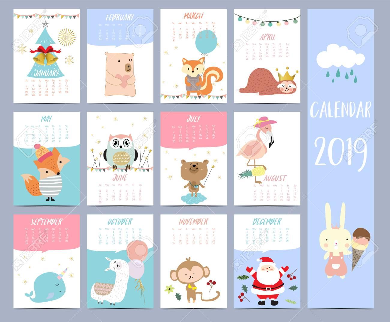 Christmas 2019 Calendar.Doodle Calendar Set 2019 With Santa Claus Christmas Tree Bear