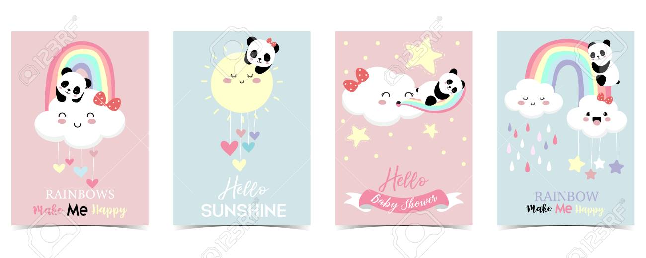 Colorful hand drawn cute card with rainbow,heart,cloud,panda and rain.Rainbow make me happy - 121192853