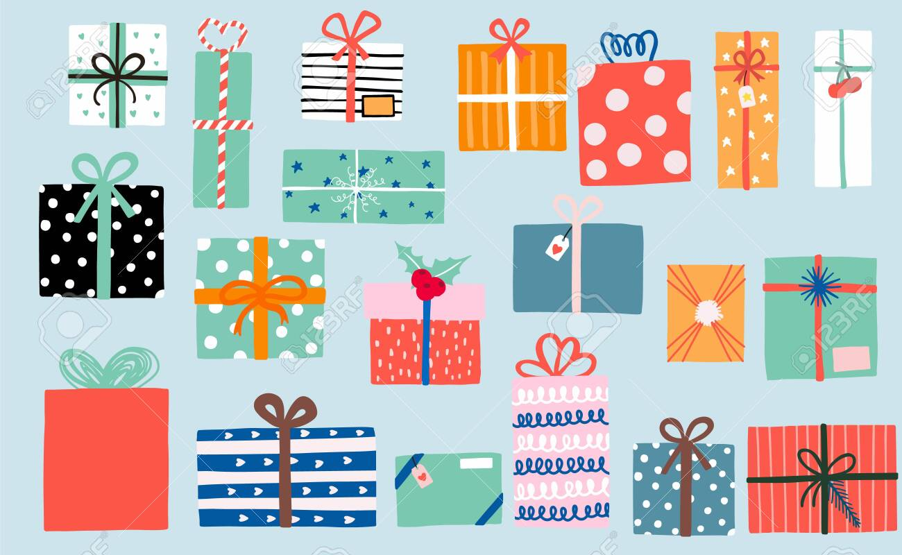 Party object collection with ribbon, gift box, cherry, pink, orange. Vector illustration for icon, logo, sticker, printable. Editable element - 133379005
