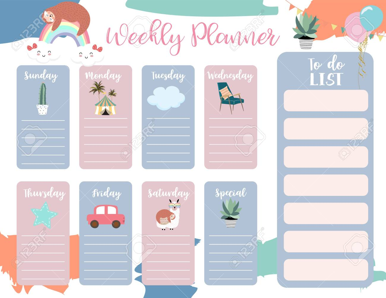 cute weekly planner background with sloth,rainbow,llama,cloud.Vector illustration for kid and baby.Editable element - 133238217