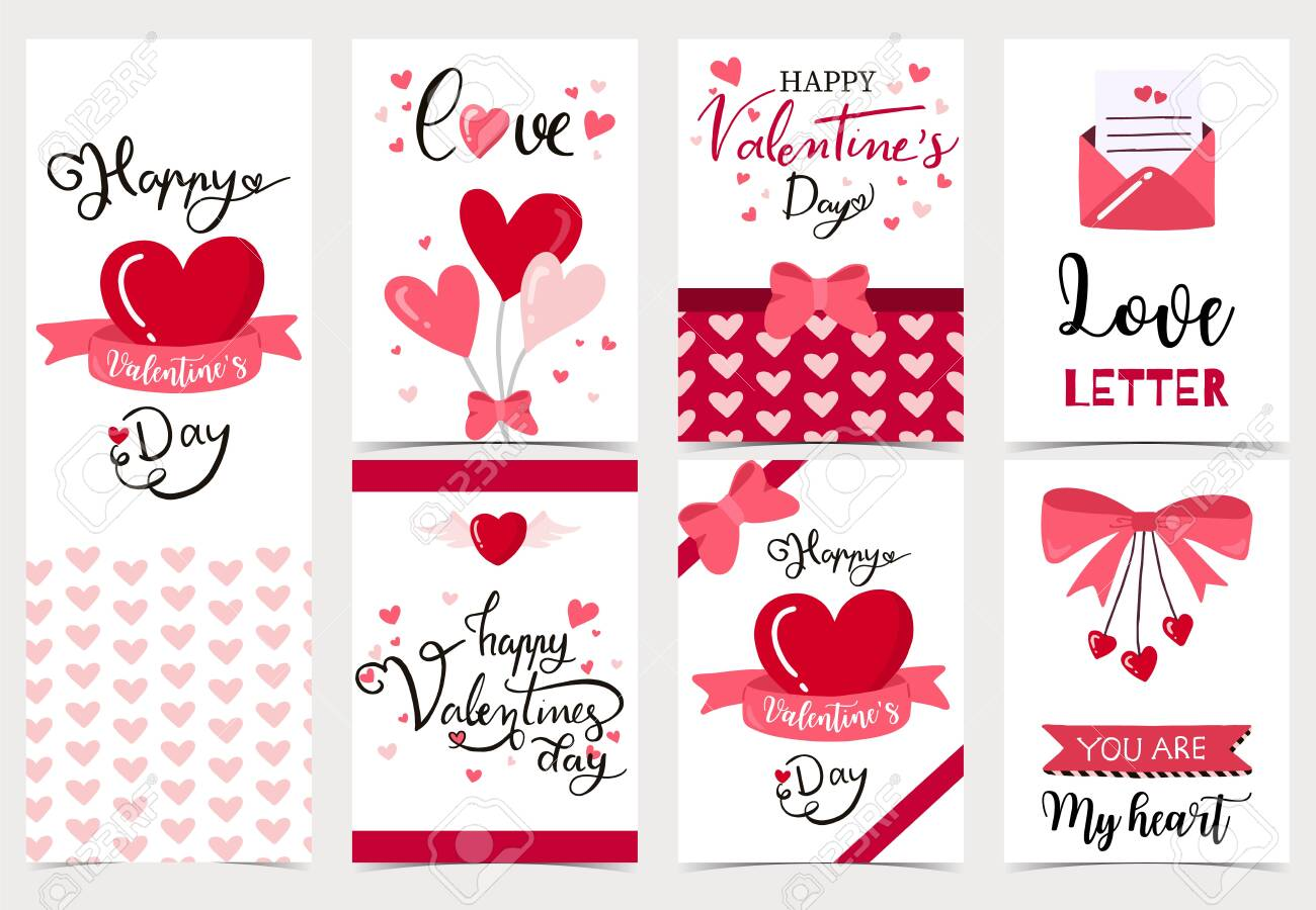 Collection of valentine's day background set with heart,letter,ribbon.Editable vector illustration for website, invitation,postcard and sticker.Wording include love you, you are my heart - 136173700