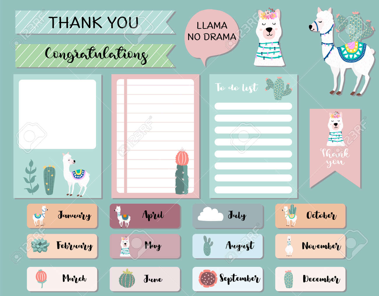 Pastel monthly calendar planner with llama,alpaca,cactus.Can use for printable,scrapbook,diary - 156901321